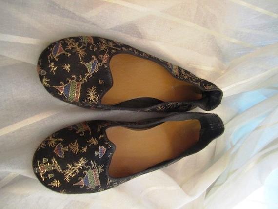 Vintage Pair of Satin Brocade Asian Slippers, ca 1