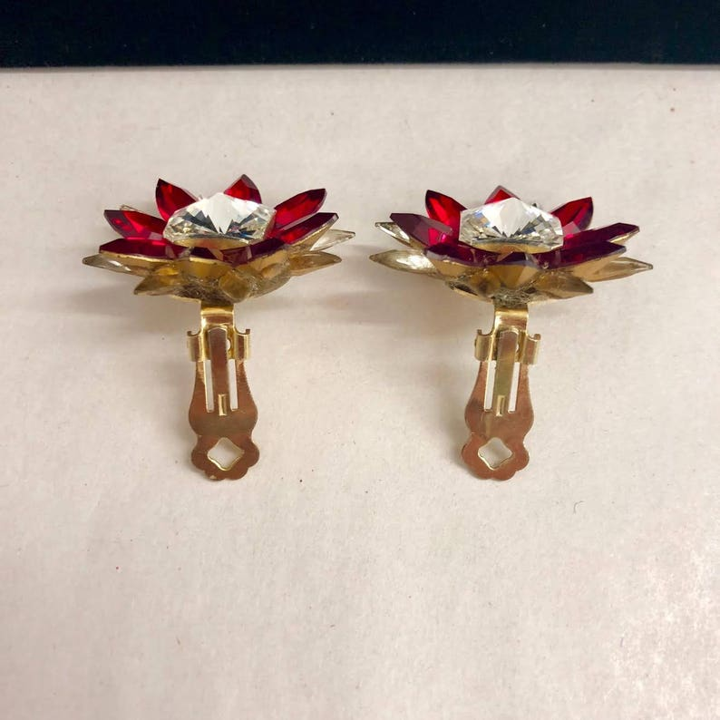 Large Vintage Clear Crystal Red Crystal and Brass Clip On Earrings ca 1950s