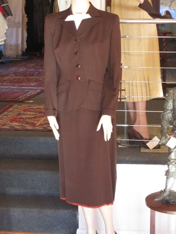 Chocolate Brown Gabardine Suit,  ca 1940s