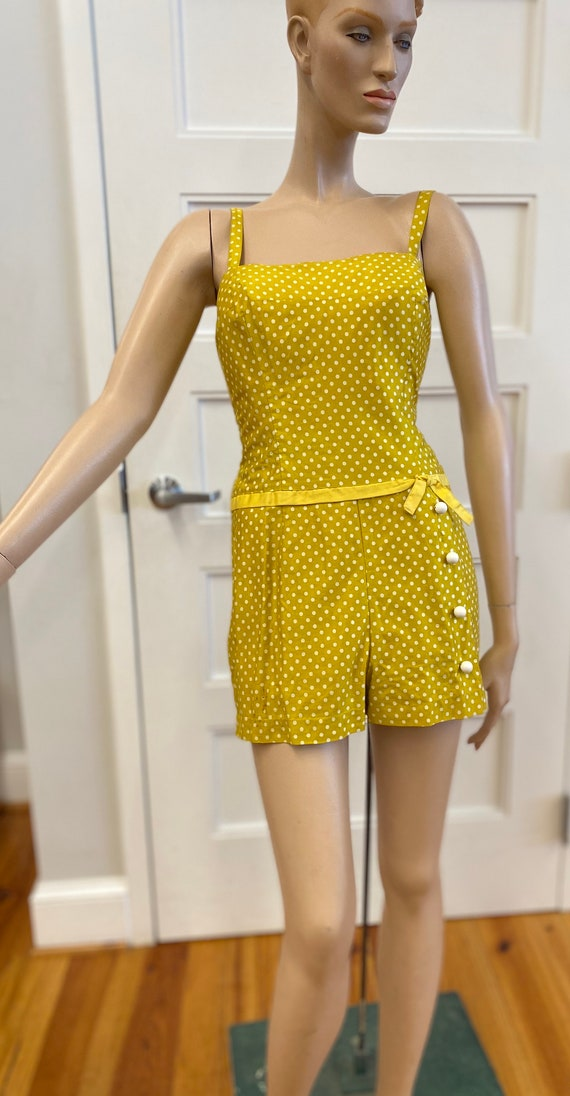 Vintage Goldenrod Yellow and White Polka Dot Bathi