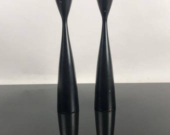 Mid Century Modern Era, Pair of Black Wood Candle Holders, Made in Denmark, ca 1960s