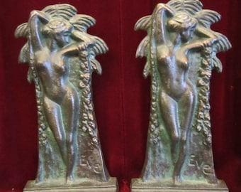 Pair of Art Nouveau Era Bronze Nude Bookends, Eve,  ca 1905
