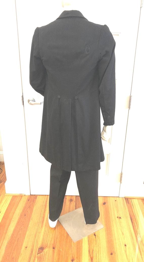 Antique Edwardian Frock Coat, Black Wool Double-Br