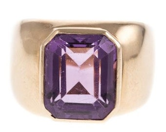 Vintage 14K Yellow Gold Ring with Large Emerald Cut Amethyst, ca 1960s, Size 6.5