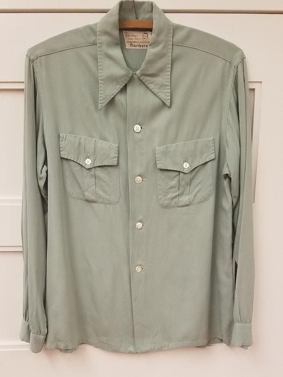 Vintage Sage Green Men's Shirt, Size M, Bob Hope S