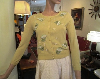 Vintage Lemon Drop Yellow Silk Beaded Cardigan Sweater, ca 1950s