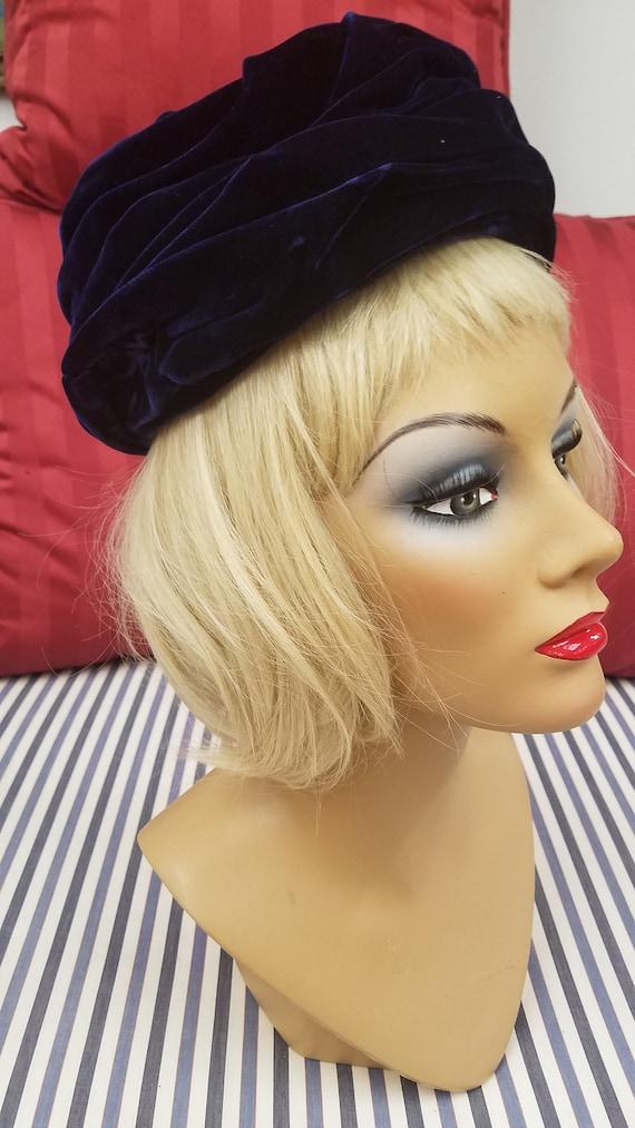 Vintage Blue Velvet Shirred Hat, ca 1950s