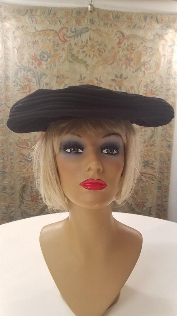 Vntage Black Wool Platter Hat,  New York Creations