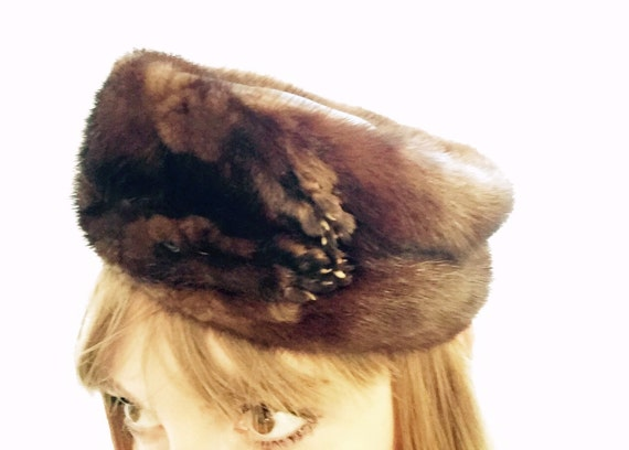 Vintage Mink Fur Pill Box Hat, ca Late 1950s, Earl