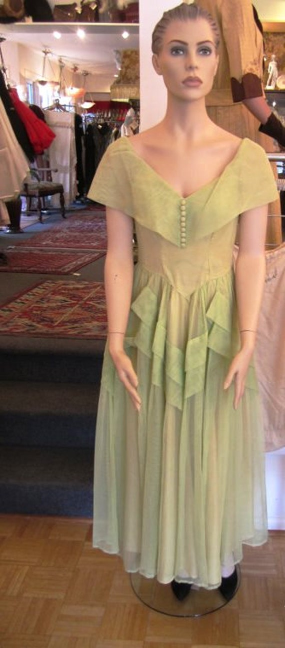 Vintage Palest Green Organza Party Dress, ca 1930s