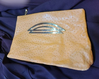 Vintage Ochre Ostrich Look Leather Clutch Purse, ca 1930s