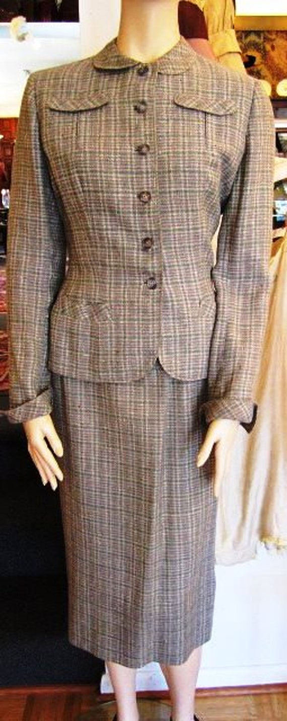 Vintage Grey,  Mocha and  White Wool Suit, ca 1940
