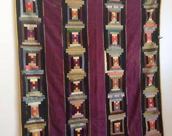 Vintage Handmade Silk Quilt, ca 1930s