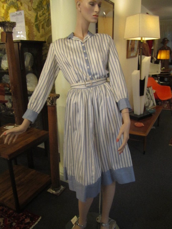 Vintage Blue and White Striped Soft Cotton Duck Bl