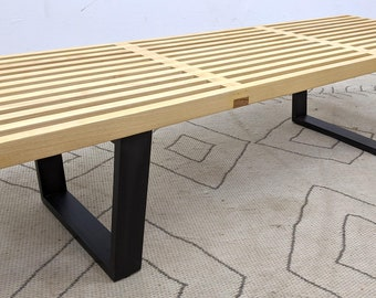 Mid Century Modern George Nelson for Knoll Wood Slat Bench, Coffee Table with Ebonized Base, ca 1960s