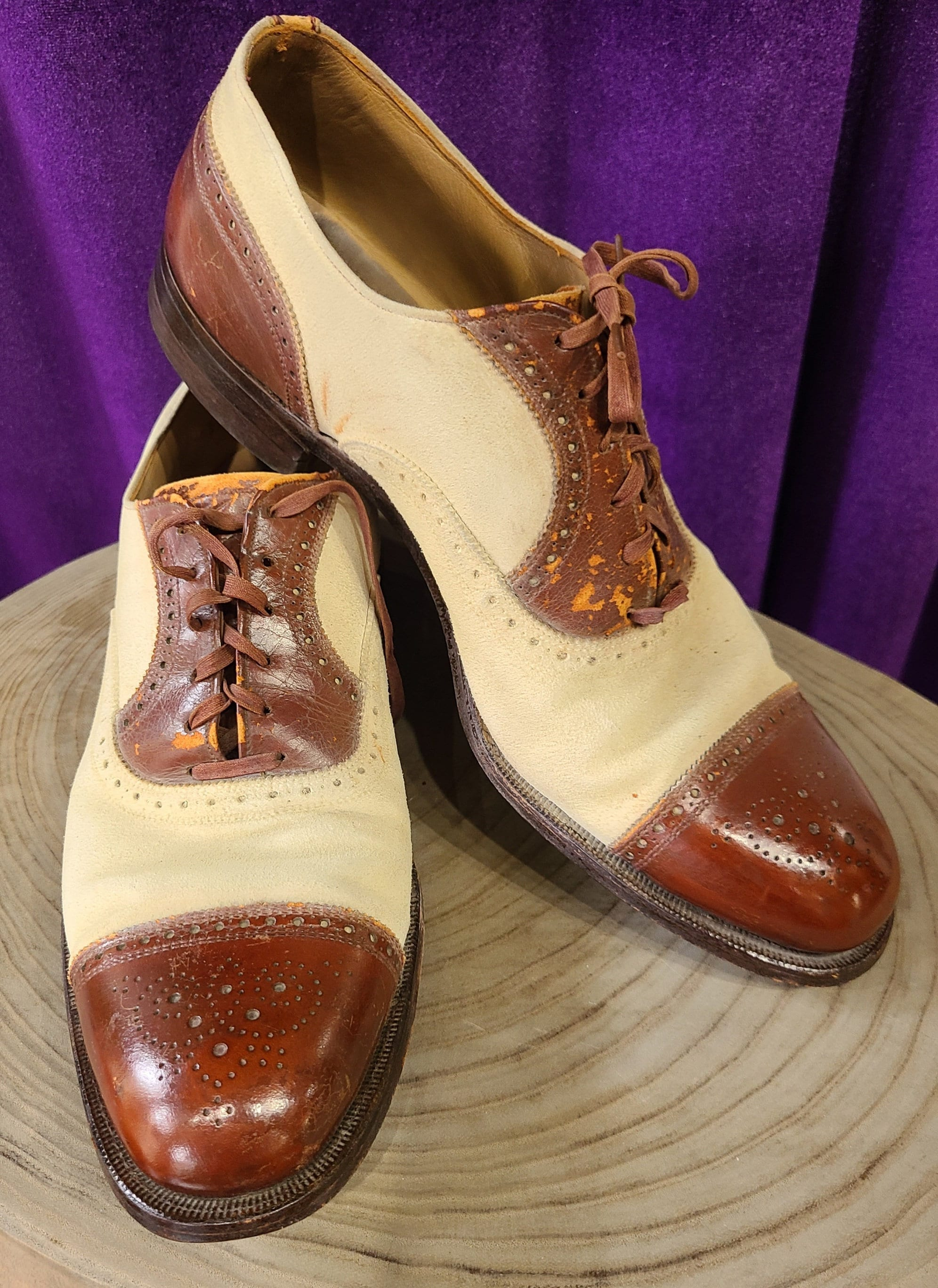 New 1930s Mens Fashion Ties Vintage Pair Of Brown Leather  Cream Suede Wing Tip Oxford Spectator Shoes, Bostonian Challengers, Ca 1930S $10,000.00 AT vintagedancer.com