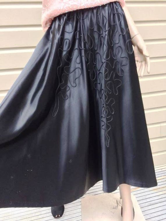 Vintage Black Silk Satin Circle Skirt with Soutach