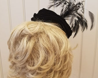 Vintage Black Velvet Toque Hat with Black and White Feathered Plumes, Norman Paulin, ca 1940s