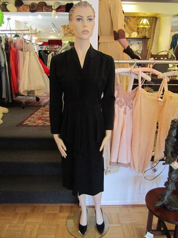 Vintage Heavy Black Satin Faille Dress with Peplu… - image 2