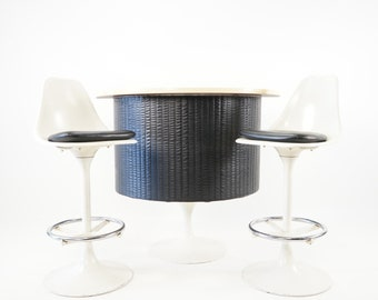 Mid Century Modern Era Black and White Bar with 2 Matching Chairs, Chromecraft, ca 1960s