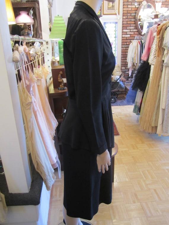 Vintage Heavy Black Satin Faille Dress with Peplu… - image 3