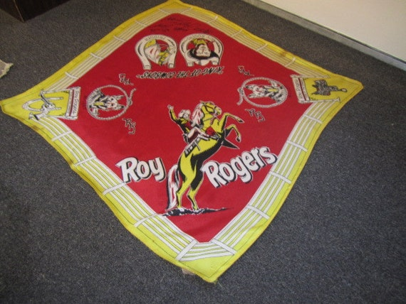 Vintage Roy Rogers and  Trigger Scarf, Machine Sig