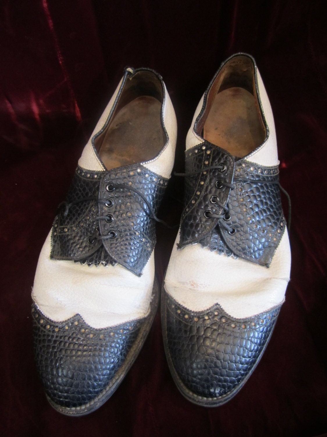 New 1930s Mens Fashion Ties Pair Of Black  White Leather Spectator Mens Shoes, Ca Late 1920S - 1930S $25.00 AT vintagedancer.com