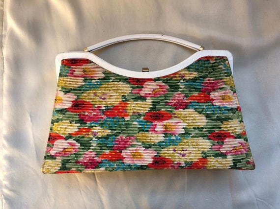 Vintage Floral Convertible Purse to Clutch, ca 195
