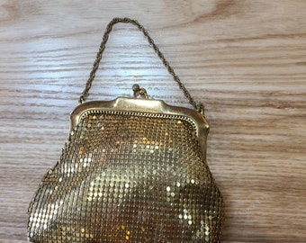 Vintage Petite Gold Mesh Purse, Whiting and Davis, ca 1940s