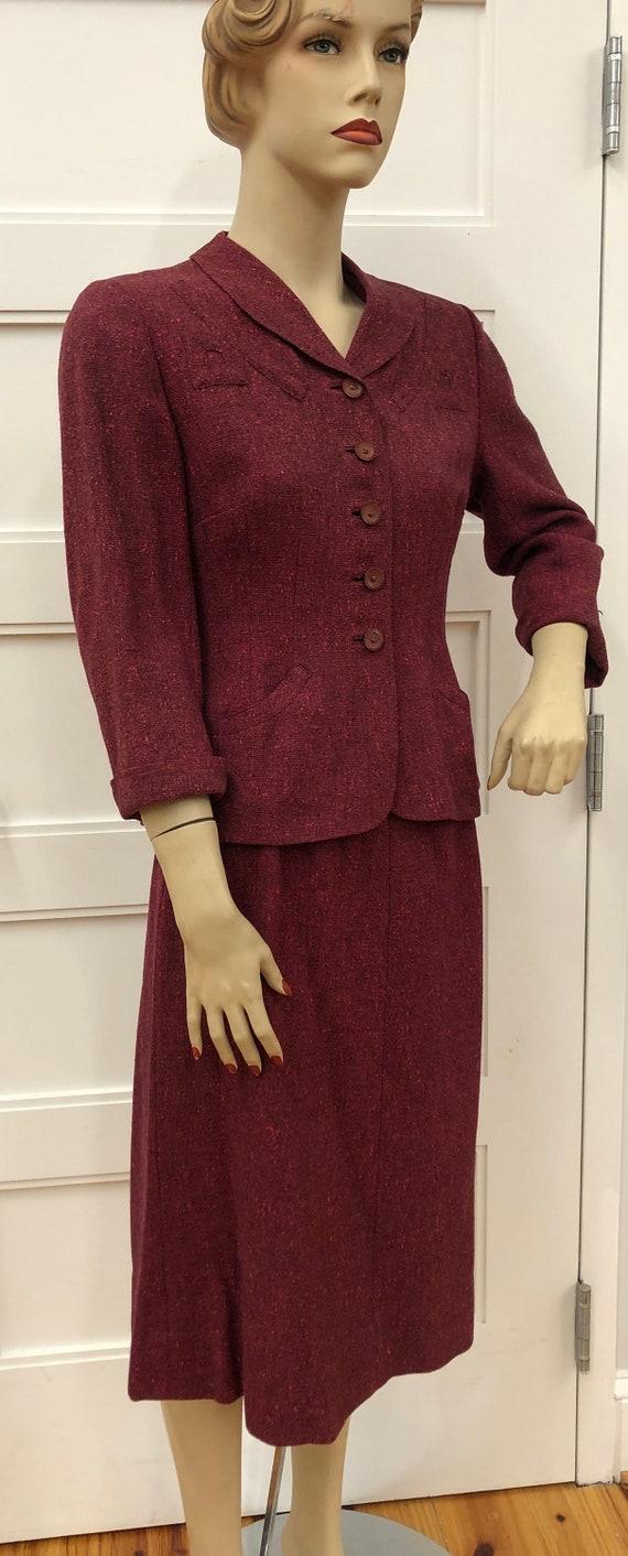 Vintage Raspberry Light Wool Tweed Suit, Davidov,