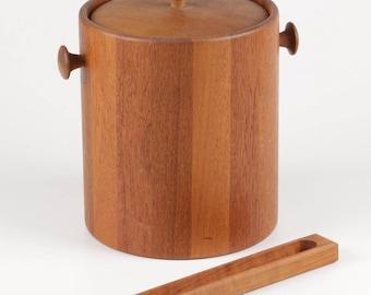 Mid Century Modern Era Lidded Teak Wood Ice Bucket with Plastic Liner and Matching Ice Tongs, ca 1960s