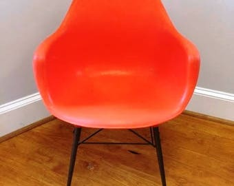 Mid Century Modern Era Orange Fiberglass Shell Chair, Indoors Or Out, Ca  1960s