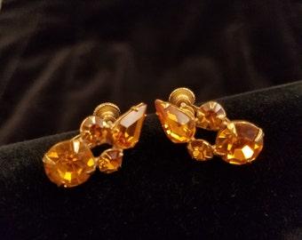 Pair of Vintage Amber Crystal Screw Back Earrings,  ca 1950s