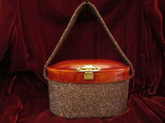 Bronze Hand Beaded Purse with Tortoise Lucite Top,