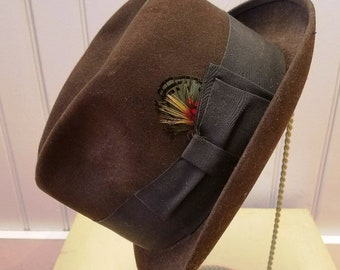 Vintage Chocolate Brown Fur Felt Trilby Fedora Hat, Adam Premier, ca 1950s