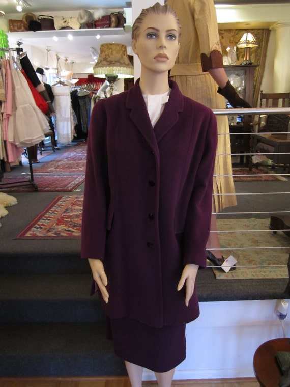 True Purple  Wool Walking Suit with Long Pocketed