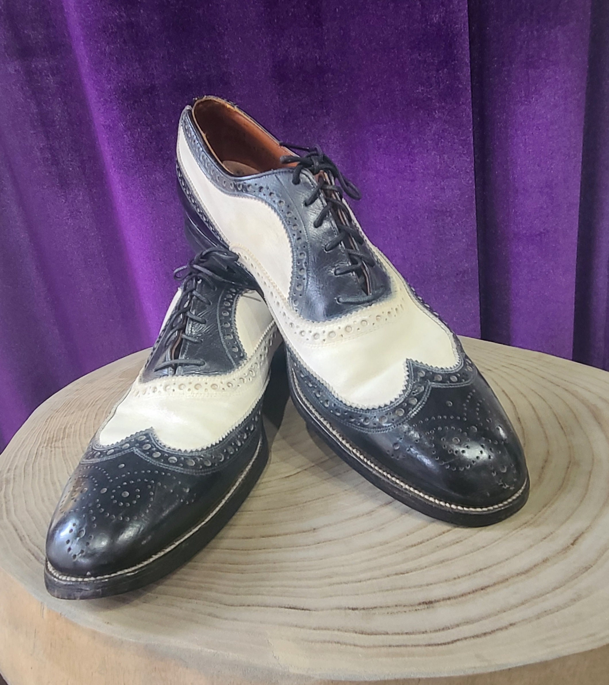 New 1930s Mens Fashion Ties Vintage Pair Of Black  White Leather Wing Tip Oxford Spectator Shoes, Ca 1940S $10,000.00 AT vintagedancer.com