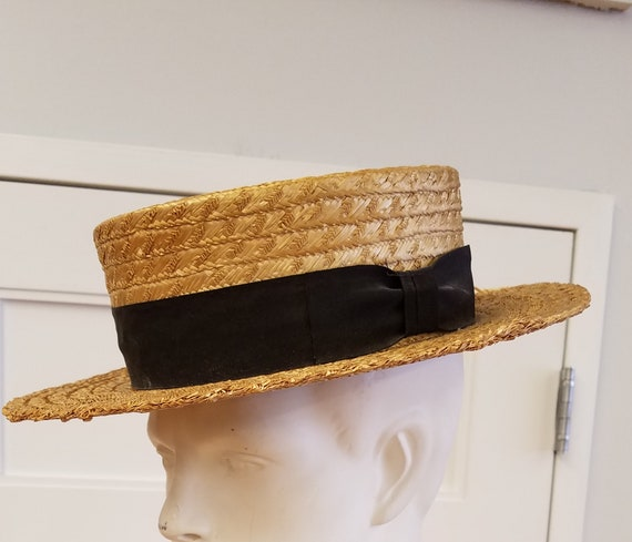 Vintage Natural Straw Boater, Wentworth, ca 1920s