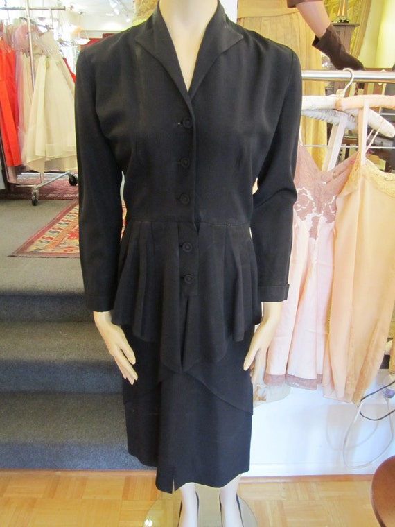Vintage Heavy Black Satin Faille Dress with Peplu… - image 1