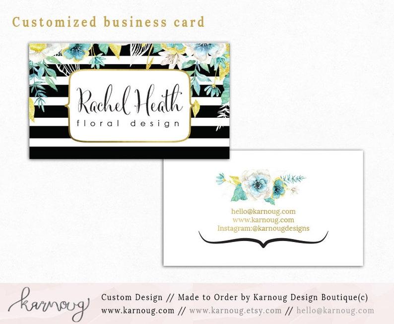 Noir A Rayures Fleuri Carte De Visite Design Aquarelle Cartes