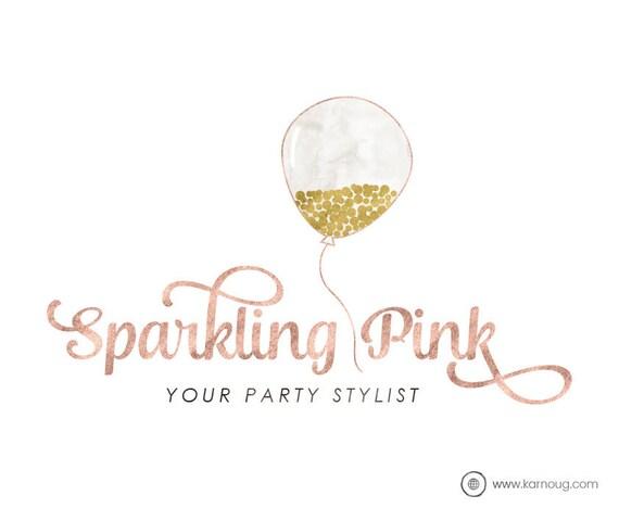 balloon logo party logo confetti logo boutique logo premade etsy