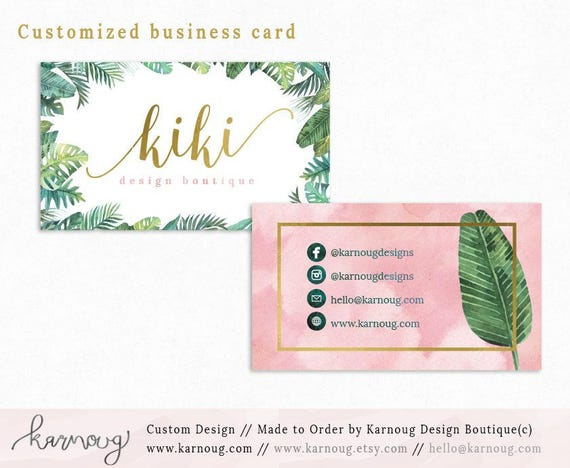 exotic tropical business card design watercolor business cards