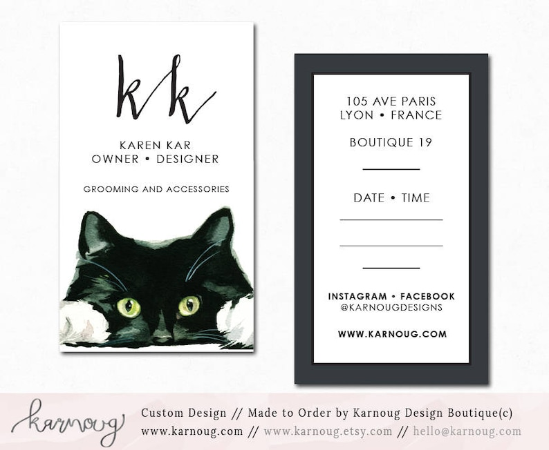 Conception De Carte Visite Chat Pet Shop Vet Aquarelle