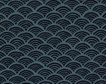 "19"" x 44"" Remnant - Indigo/Navy Seigaiha Fabric - Traditional Japanese Fabric"