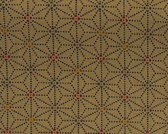"19"" x 44"" Remnant - Sashiko Print Asanoha (Hemp Leaf) - Wheat - Traditional Japanese Fabric"