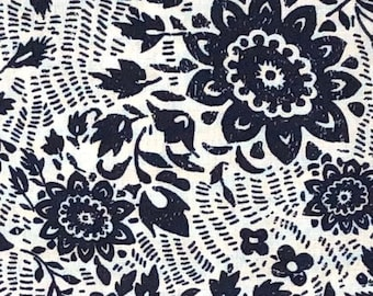 """23"""" x 44"""" Remnant - Sashiko Collection """"Floral Stitch"""" - OEKO-TEX Certified - 100% Cotton fabric from Whistler Studios"""