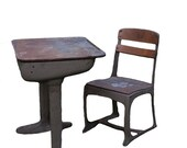 RESERVED.: Vintage Mid Century School Desk and Chair
