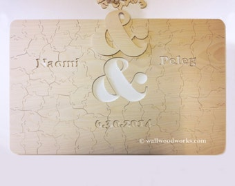 Wedding Puzzle Guest Book Natural Wood & Ampersand Cutout 10-50 Pieces (Size - Medium) Guest Book for Rustic or Alternative Wedding Decor