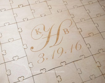 Wedding Puzzle Guest Book (3 Initials) 32-400 Piece Wedding for Weddings, Guest Book Puzzle, Guestbook puzzle, Rustic, Laser Engraved
