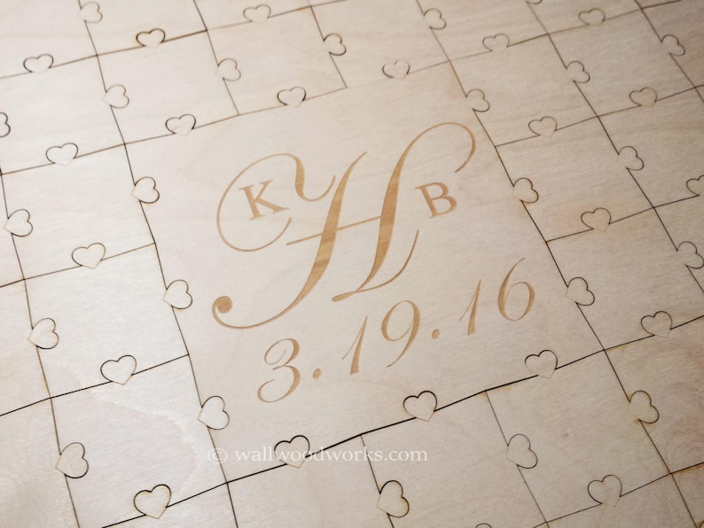 Wedding Puzzle Guest Book 32-400 Piece Wedding for Weddings Guest Book Puzzle 3 Initials Laser Engraved Rustic Guestbook puzzle